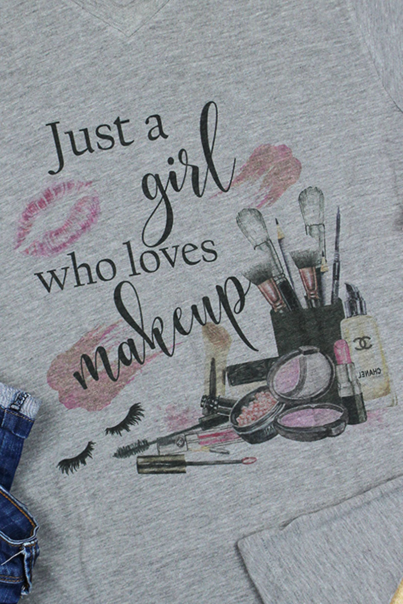 A Girl Who Loves Makeup Unisex Poly-Rich Blend V-Neck Tee