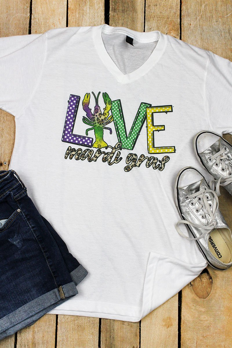 Love Mardi Gras Unisex Poly-Rich Blend V-Neck Tee