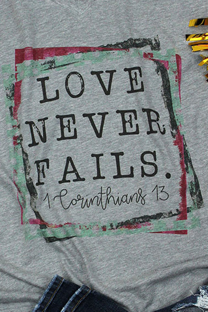 Love Never Fails Unisex Poly-Rich Blend V-Neck Tee