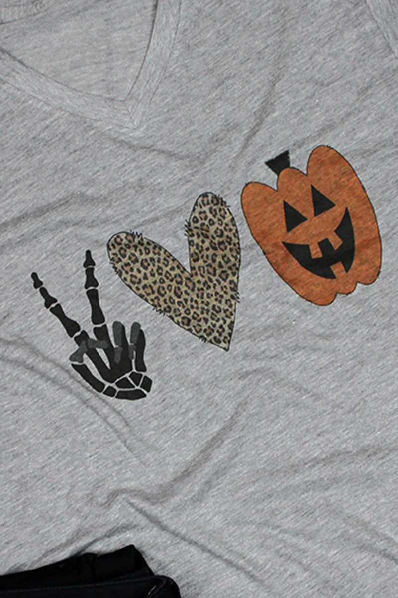 Peace Love Halloween Unisex Poly-Rich Blend V-Neck Tee