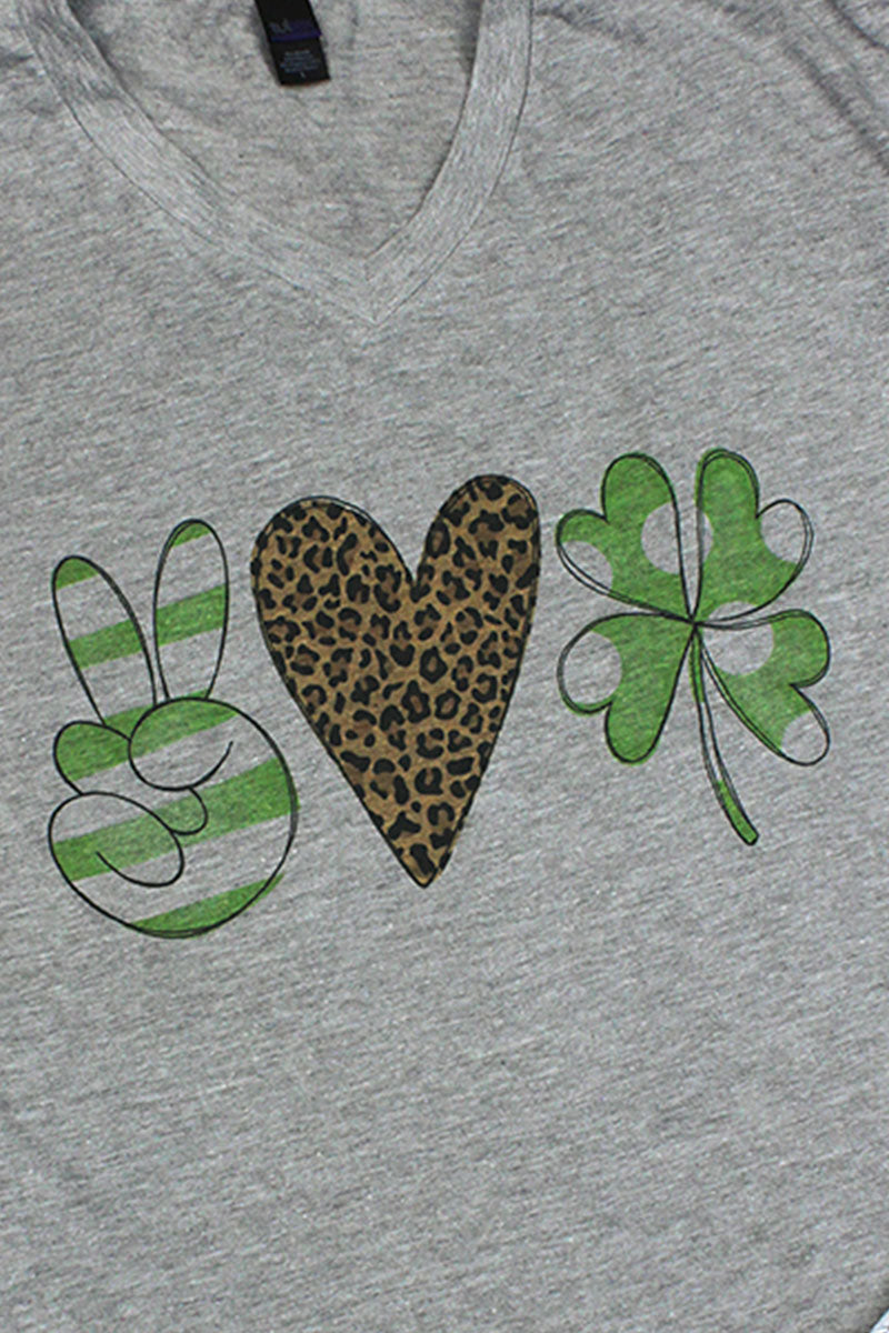 Peace Love Shamrock Unisex Poly-Rich Blend V-Neck Tee
