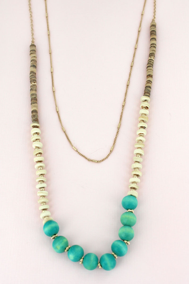 Layered Turquoise Wood Beaded Goldtone Necklace