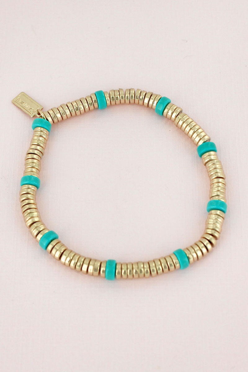 Goldtone and Turquoise Disk Beaded Stretch Bracelet