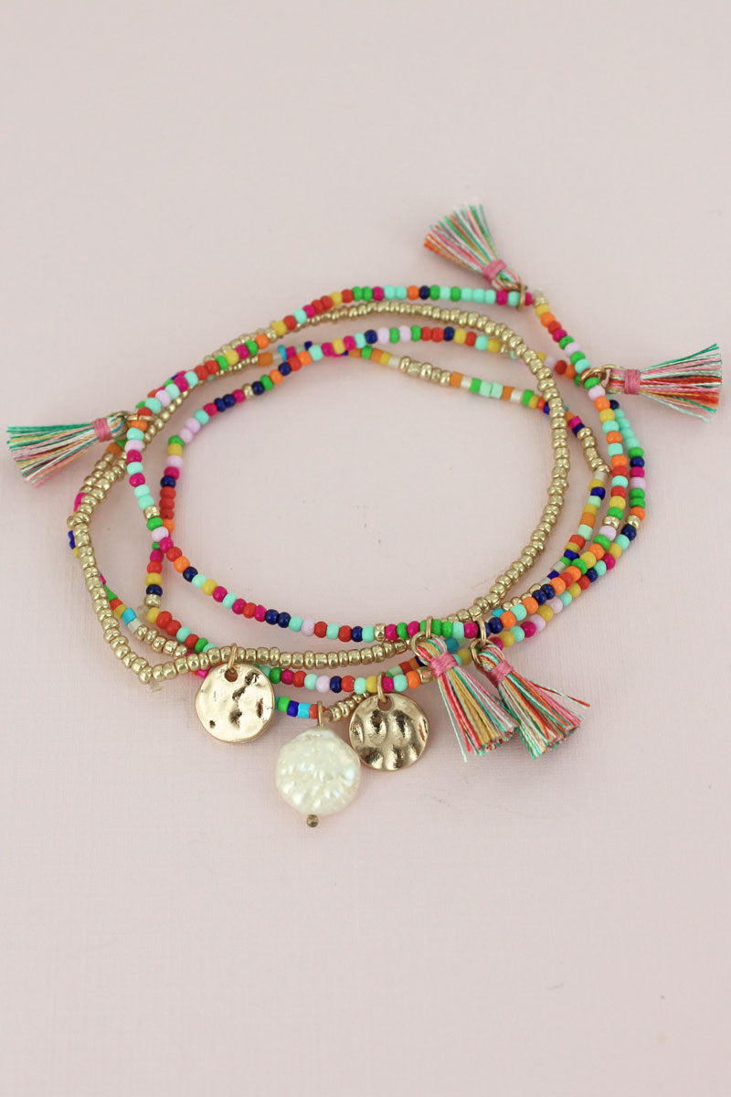 Multi-Color Seed Tassel and Disk Charm Bracelet Set