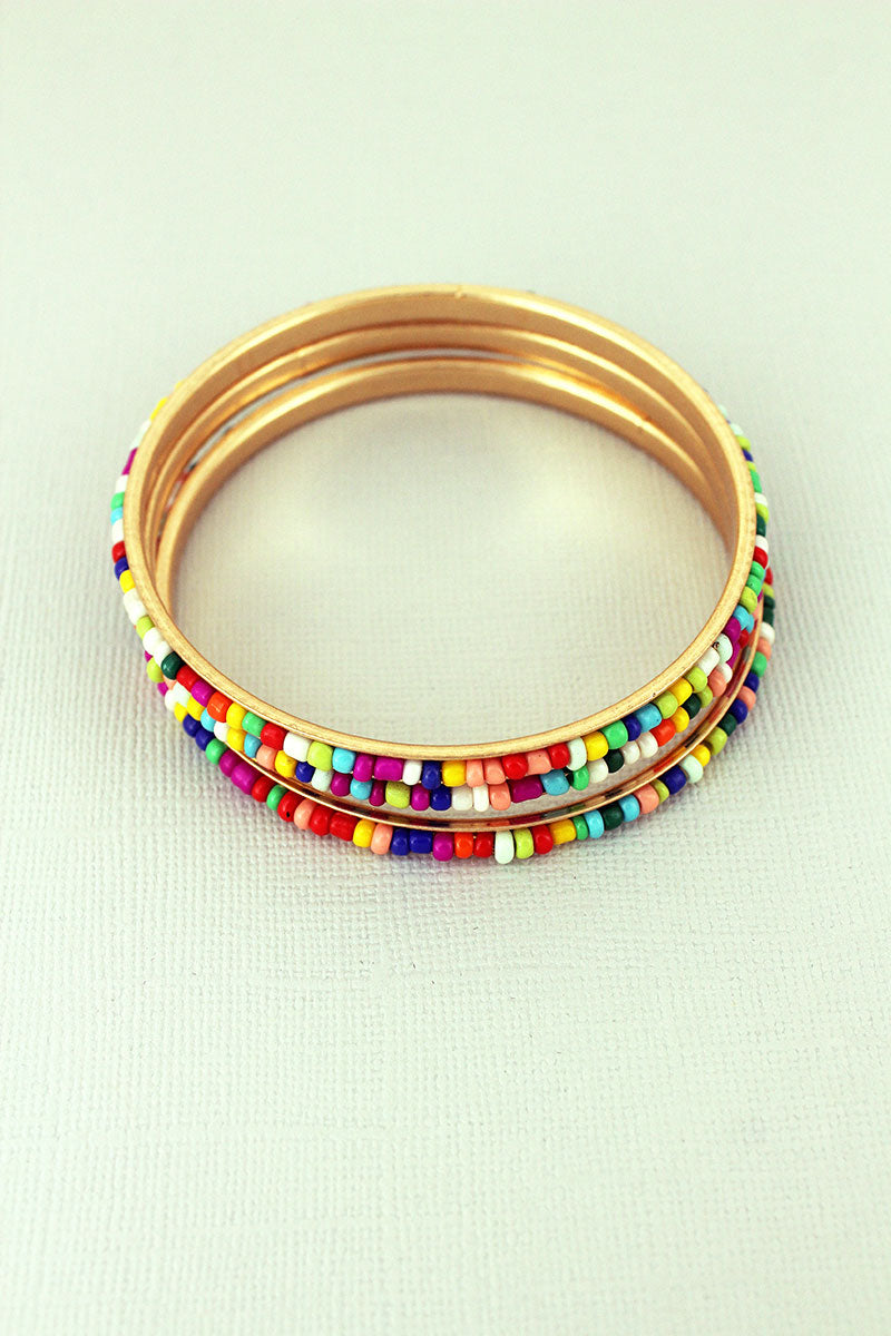 Crave Multi-Color Seed Bead and Goldtone Bangle Trio