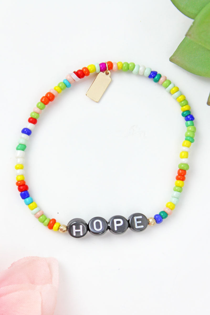 Black Tiled Letter 'Hope' Rainbow Seed Bead Bracelet