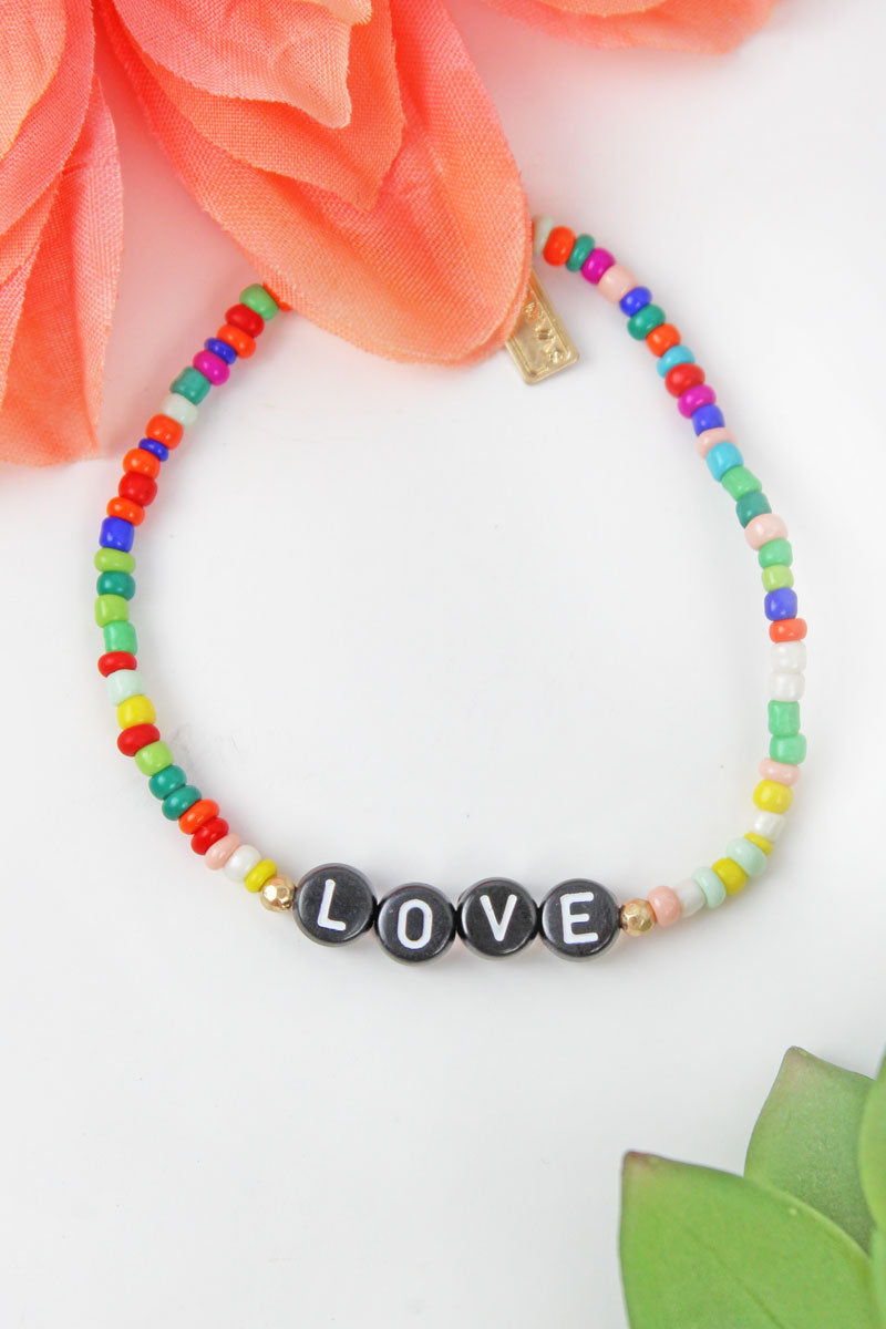 Black Tiled Letter 'Love' Rainbow Seed Bead Bracelet