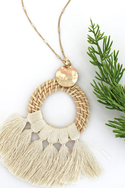Ivory Rattan Circle Tassel Fringe Necklace