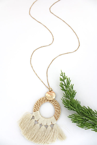 SALE! Ivory Rattan Circle Tassel Fringe Necklace