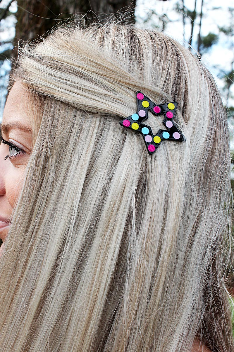 Crave Black with Multi-Color Polka Dots Star Snap Hair Clip