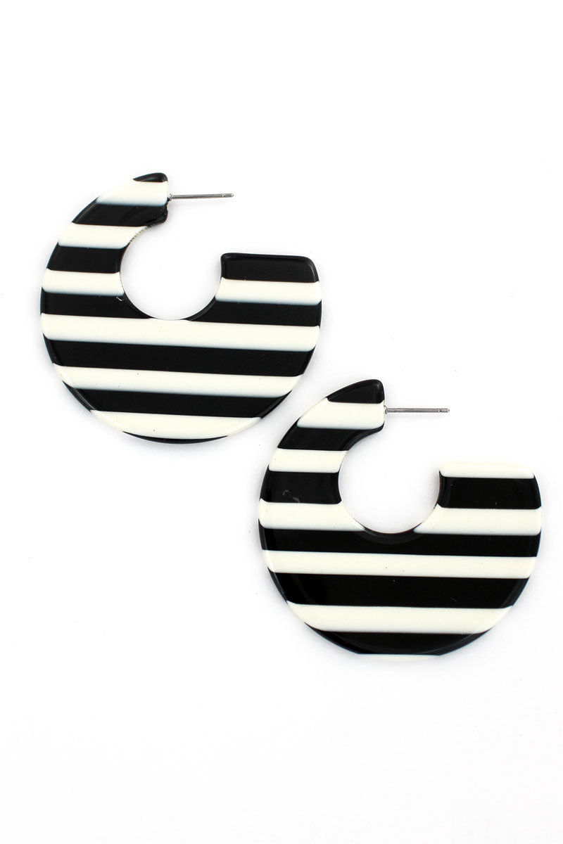 Black and White Striped Flat Hoop Earrings, 2""
