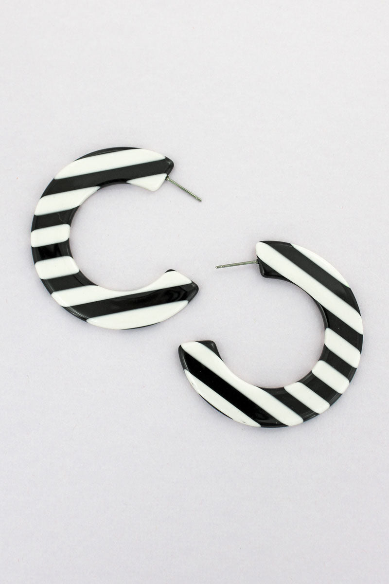 Black and White Striped Flat C Hoop Earrings, 2""