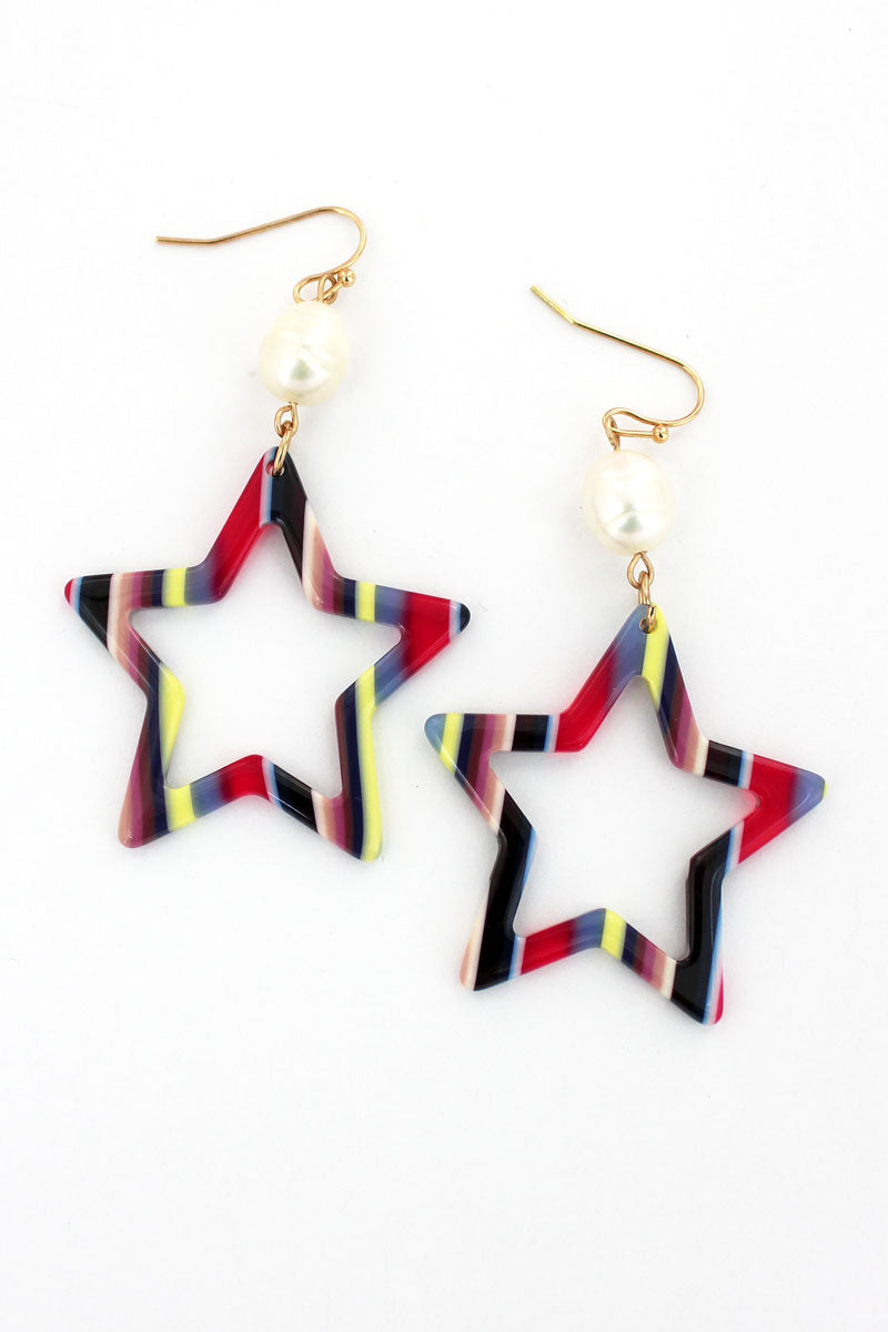 Crave Pearl and Multi-Color Striped Cut-Out Star Earrings