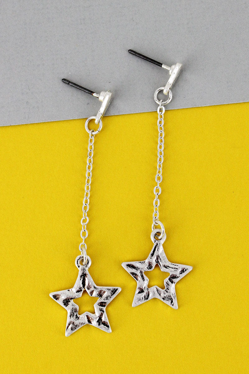 Crave Hammered Silvertone Star Chain Drop Earrings
