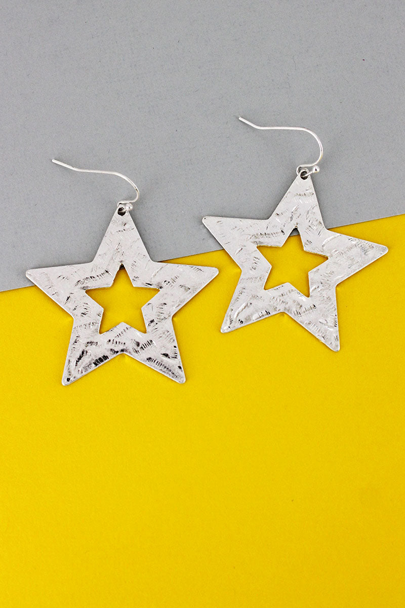 Crave Hammered Silvertone Star Earrings