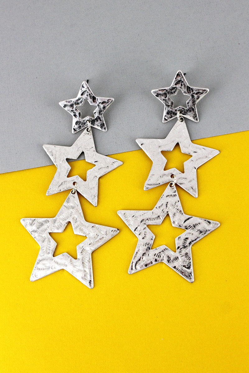 Crave Hammered Silvertone Tiered Star Earrings