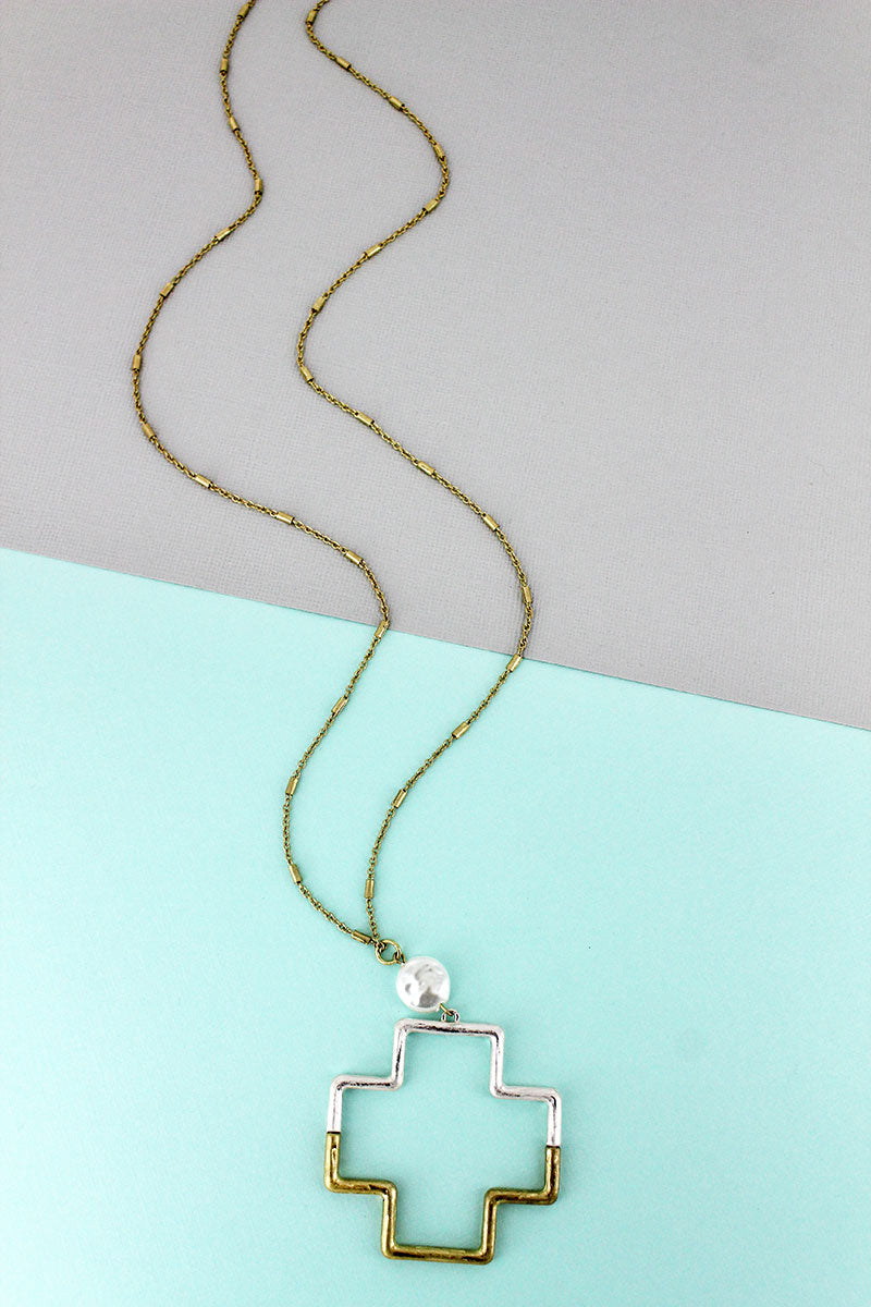 Crave Two-Tone Split Metal Square Cross Necklace