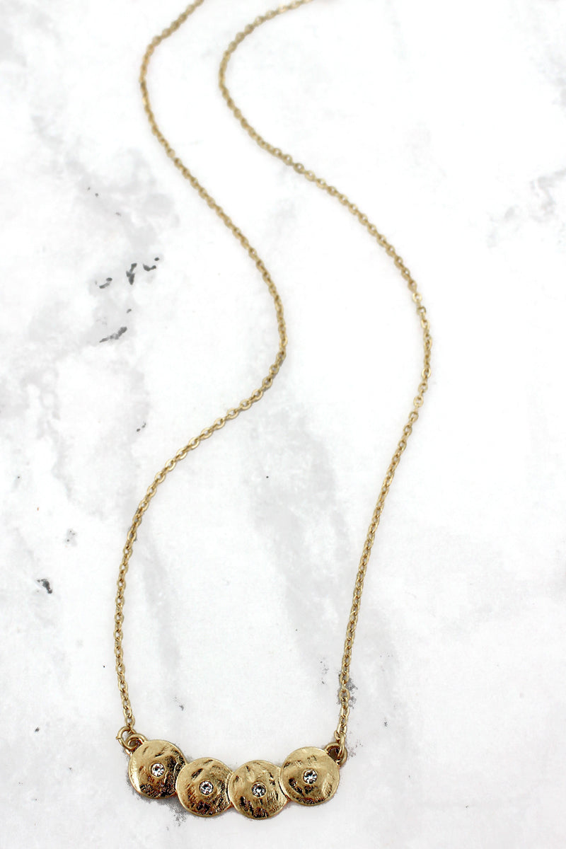 SALE! Goldtone and Crystal Ovlerlapping Disk Necklace