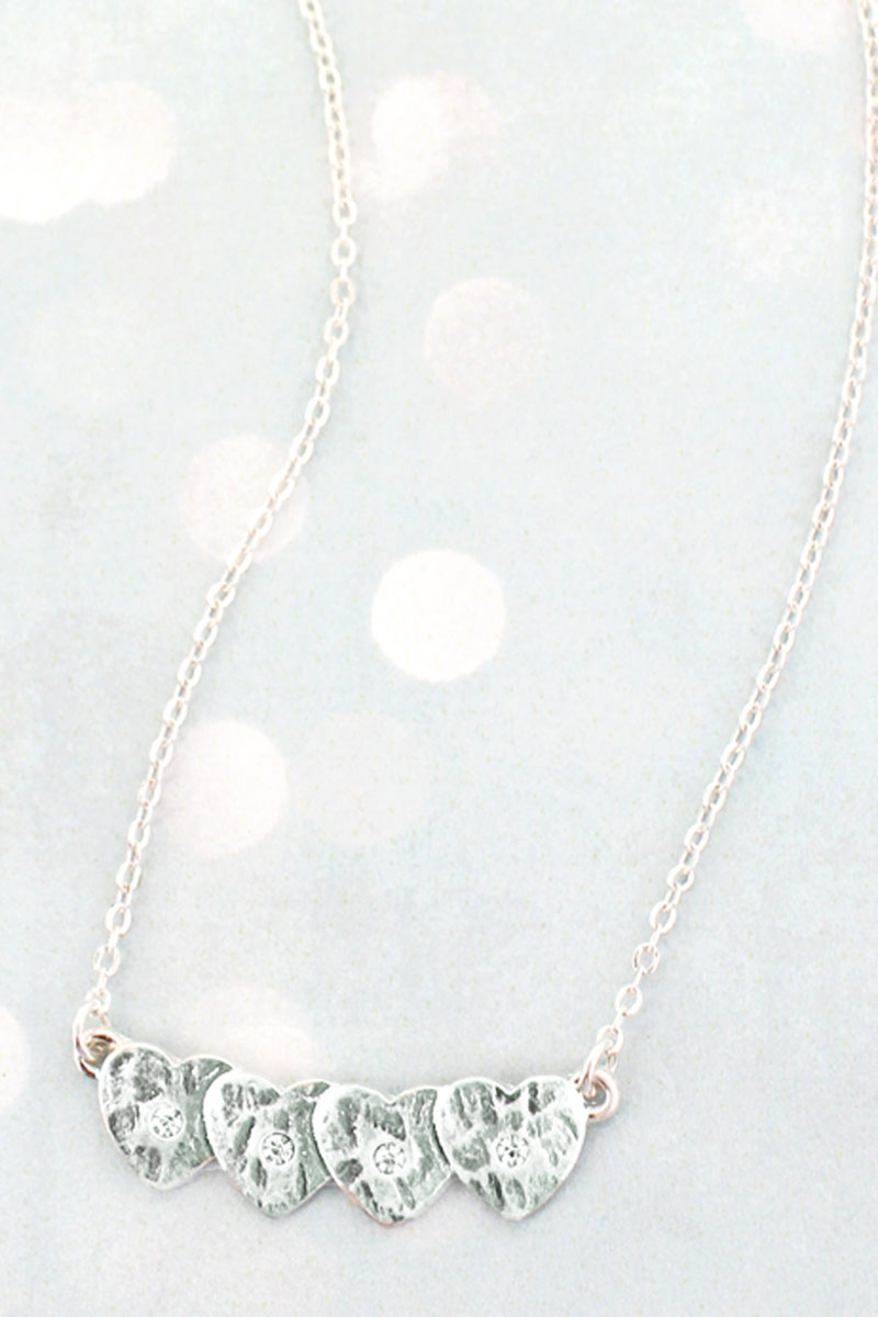 SALE! Silvertone and Crystal Ovlerlapping Heart Necklace