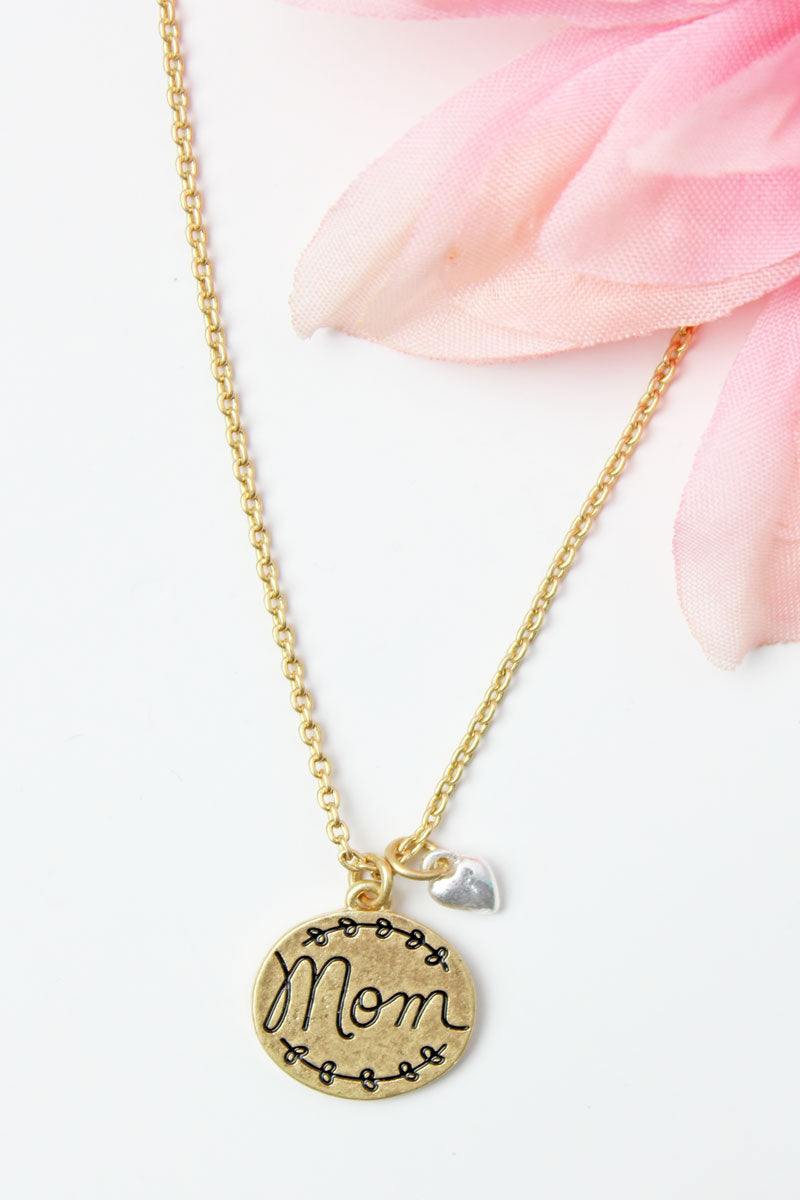 Crave Worn Goldtone 'Mom' Disk Charm Pendant Necklace