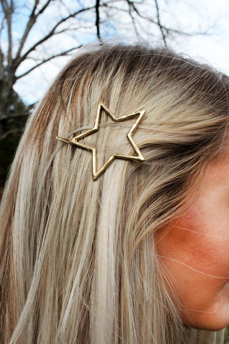 Crave Hammered Goldtone Open Star Snap Hair Clip