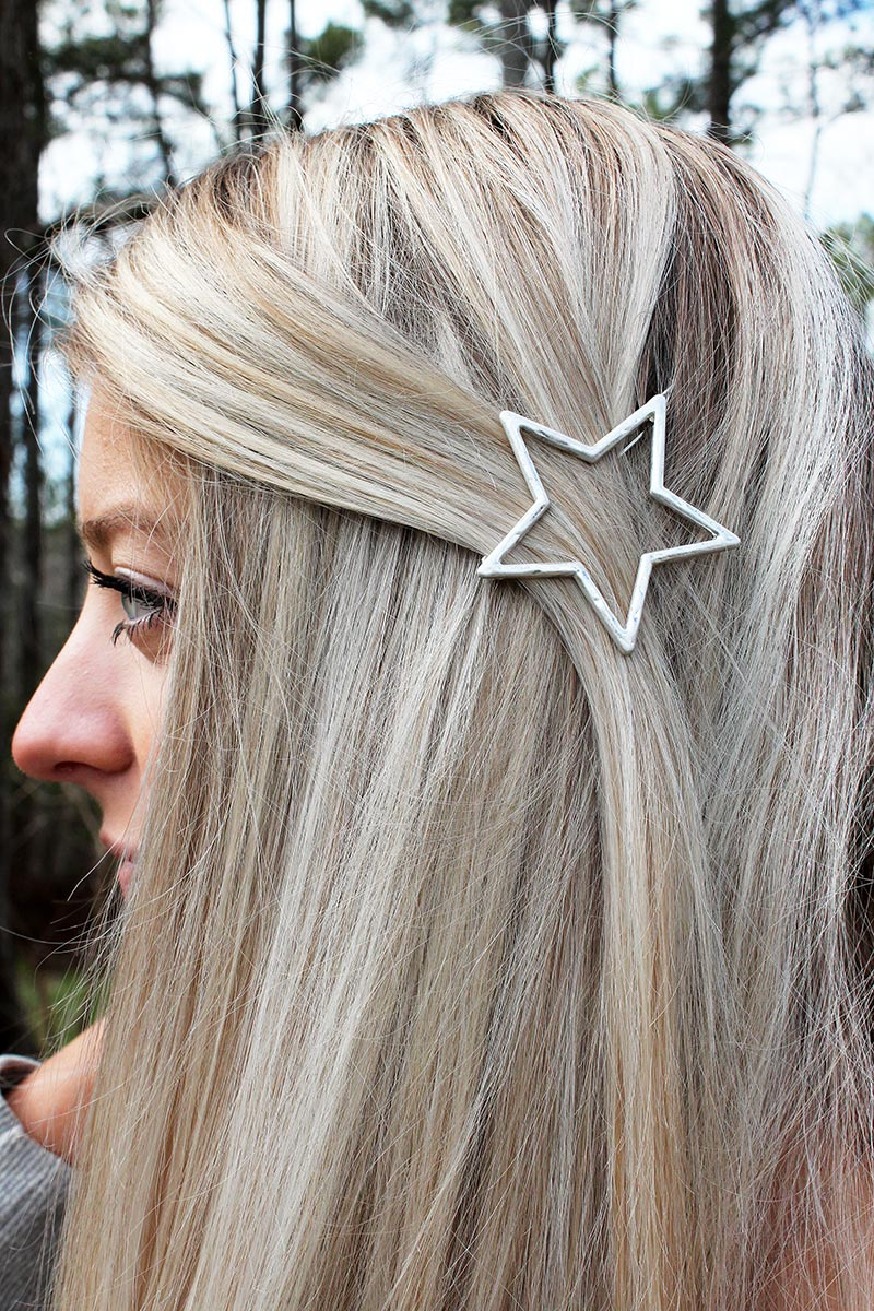 Crave Hammered Silvertone Open Star Snap Hair Clip