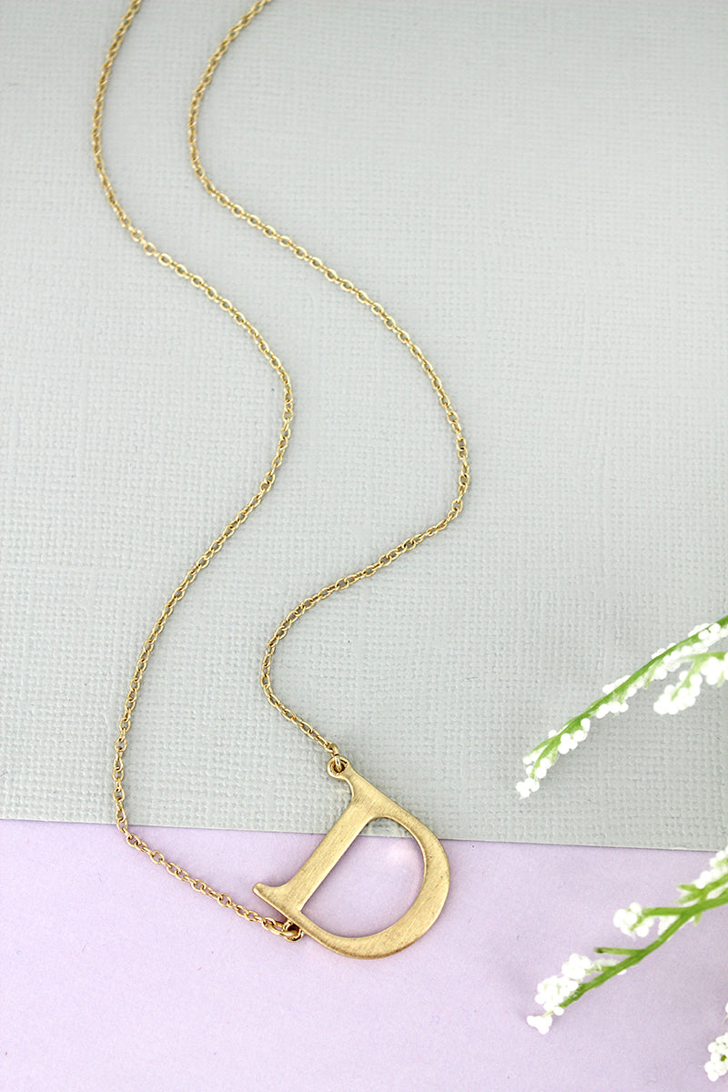 SALE! Crave Satin Goldtone 'D' Sideways Initial Necklace