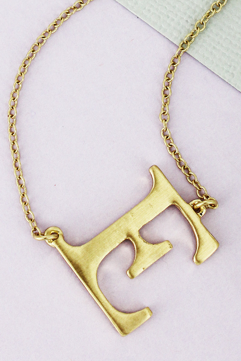 SALE! Crave Satin Goldtone 'E' Sideways Initial Necklace