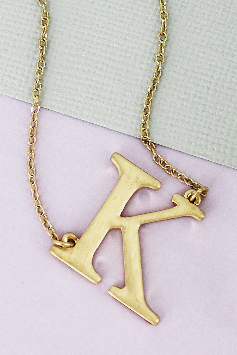 SALE! Crave Satin Goldtone 'K' Sideways Initial Necklace