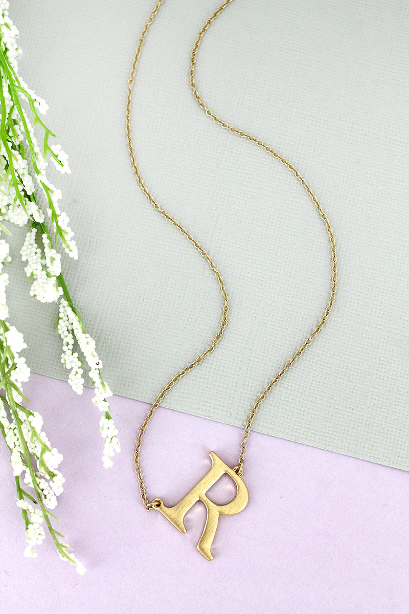 SALE! Crave Satin Goldtone 'R' Sideways Initial Necklace