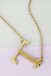 SALE! Crave Satin Goldtone 'T' Sideways Initial Necklace