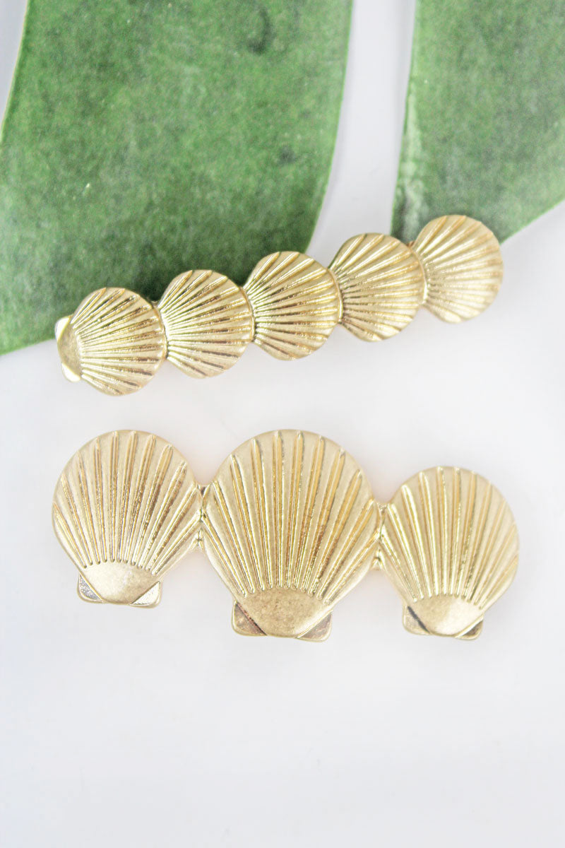 Goldtone Graduated Seashell Hair Barrette Set