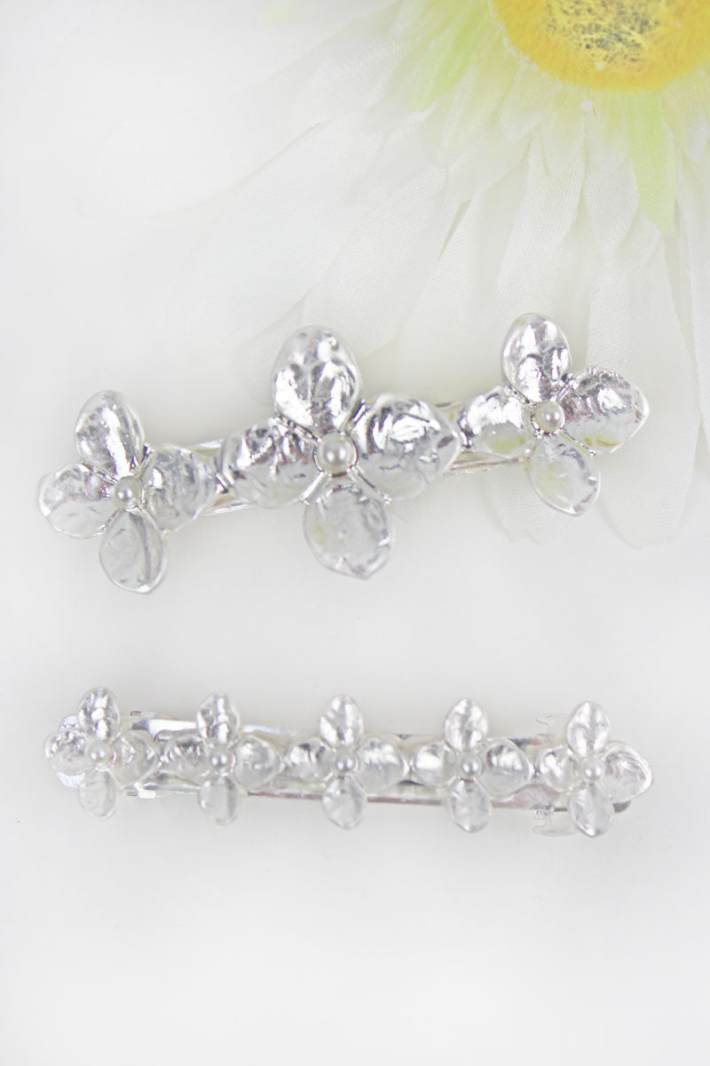 Hammered Silvertone Graduated Flower Hair Barrette Set