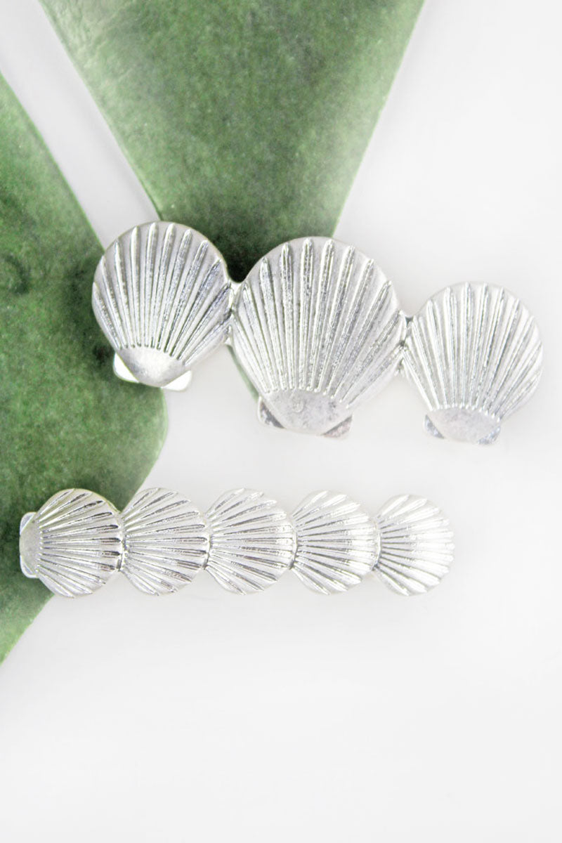 Silvertone Graduated Seashell Hair Barrette Set
