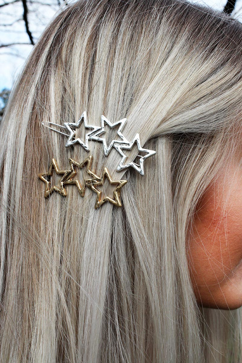 Crave Hammered Two-Tone Open Star Snap Hair Clip Set