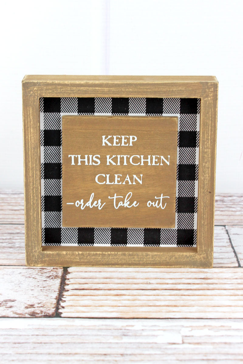6 X 6 Keep This Kitchen Clean Buffalo Plaid Wood Framed Sign Wholesale Accessory Market