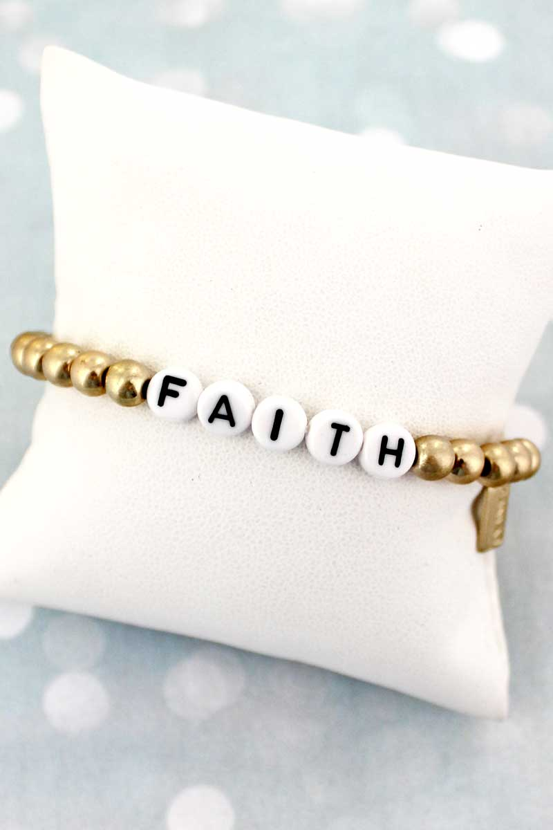 Black Tiled Letter 'Faith' Worn Goldtone Bead Bracelet