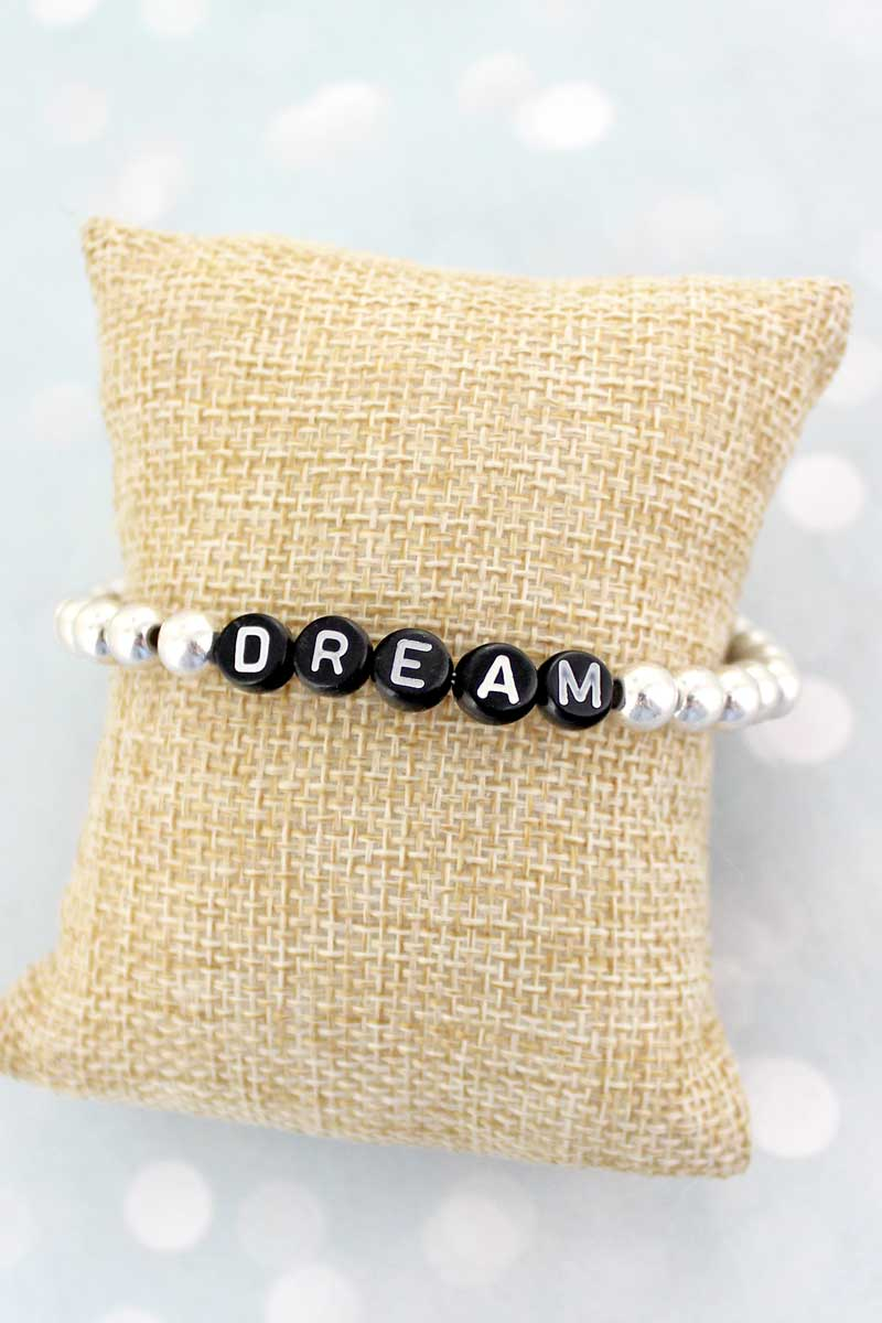 Black Tiled Letter 'Dream' Worn Silvertone Bead Bracelet