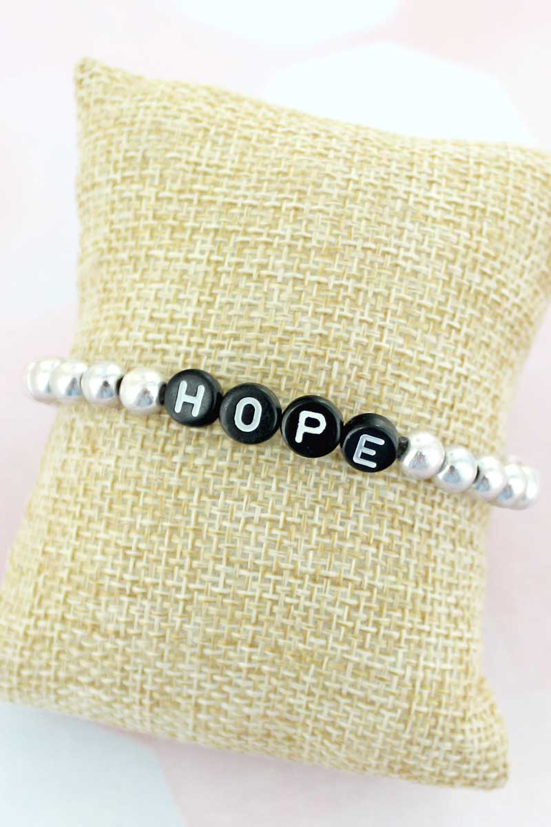 Black Tiled Letter 'Hope' Worn Silvertone Bead Bracelet