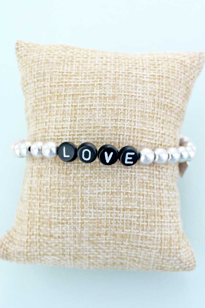 Black Tiled Letter 'Love' Worn Silvertone Bead Bracelet