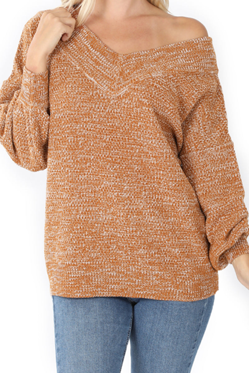 Almond Balloon Sleeve Wide Double V-Neck Sweater