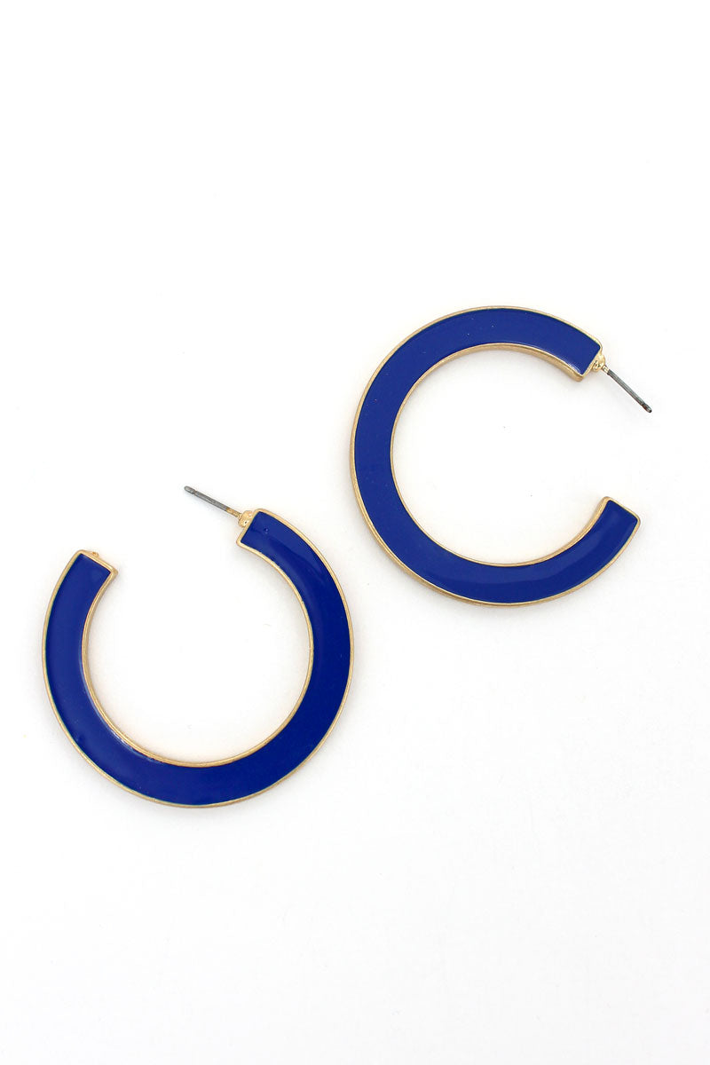 SALE! Navy and Aqua Reversible Hoop Earrings