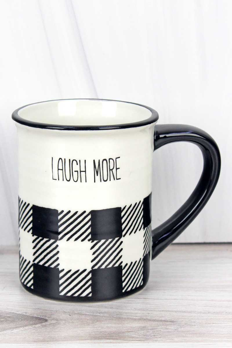 Ceramic 'Laugh More' Black Buffalo Plaid Mug