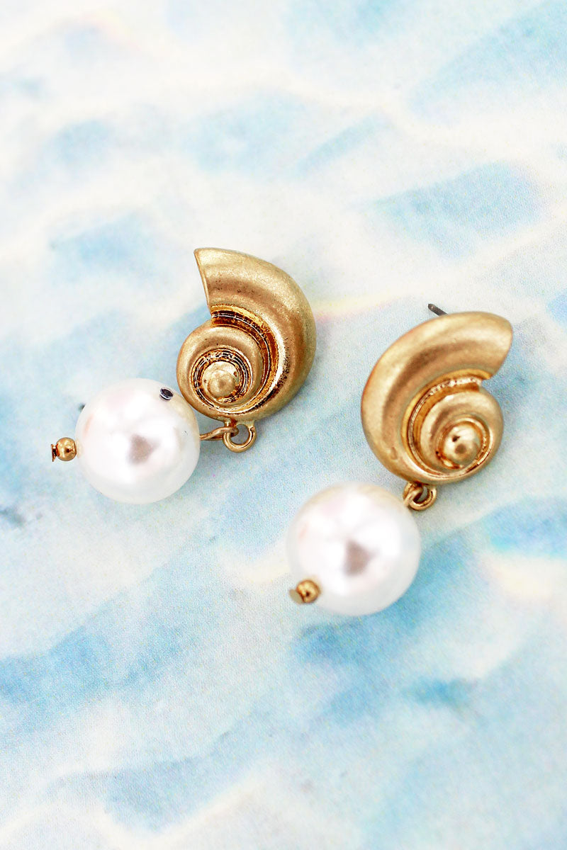 Crave Goldtone Nautilus and Pearl Earrings