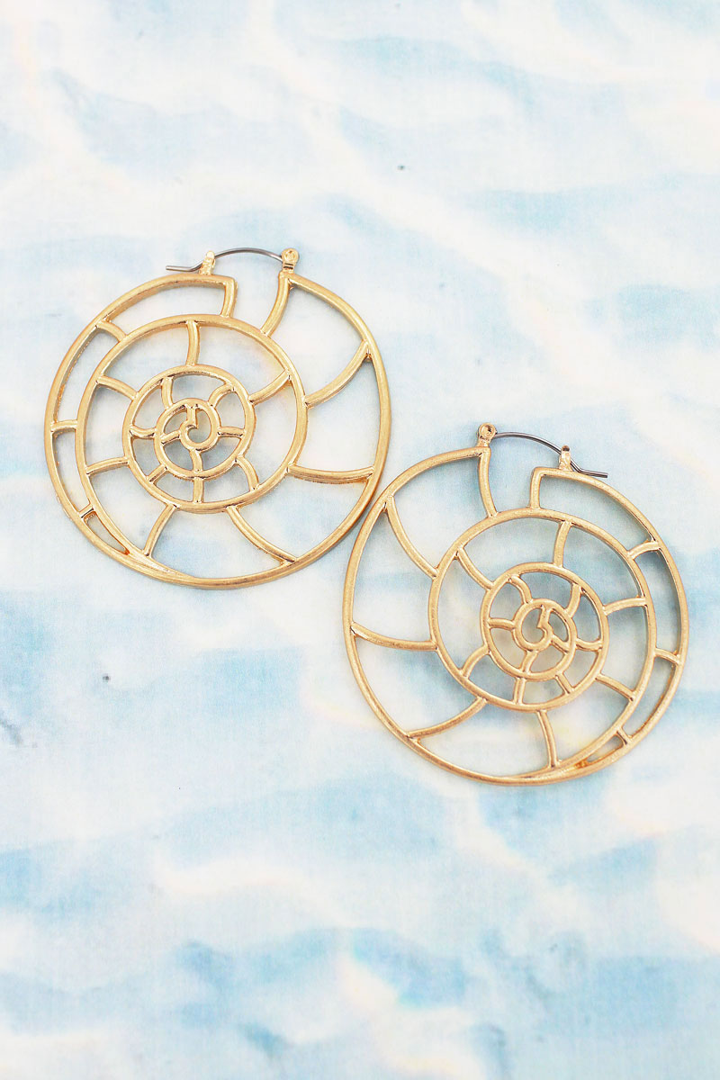 Goldtone Nautilus Outline Earrings