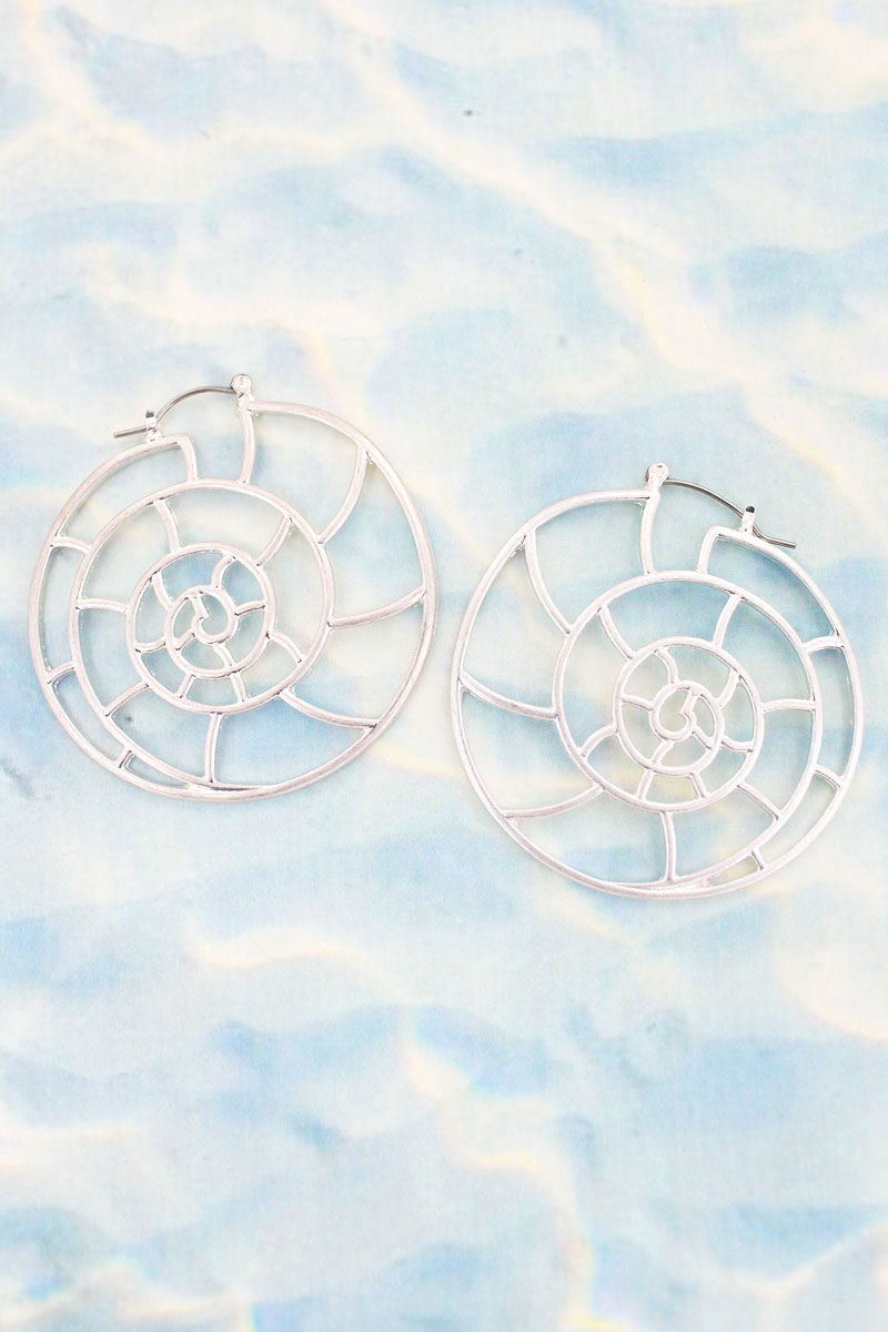 Crave Silvertone Nautilus Outline Earrings