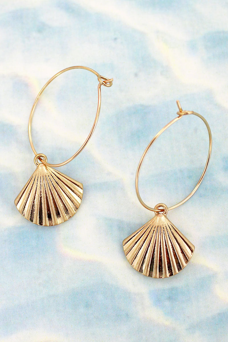 Goldtone Clam Shell Threader Hoop Earrings