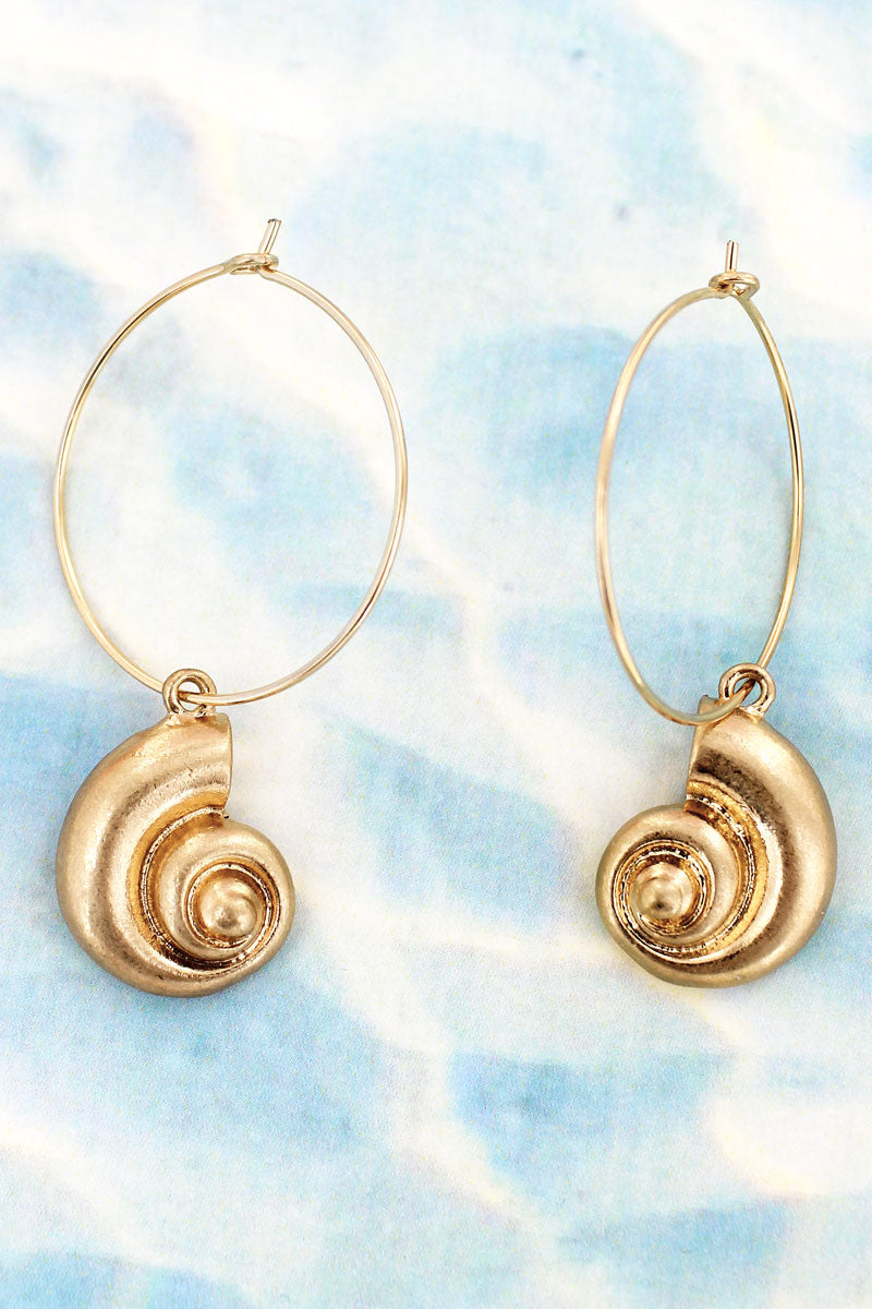 Crave Goldtone Nautilus Threader Hoop Earrings