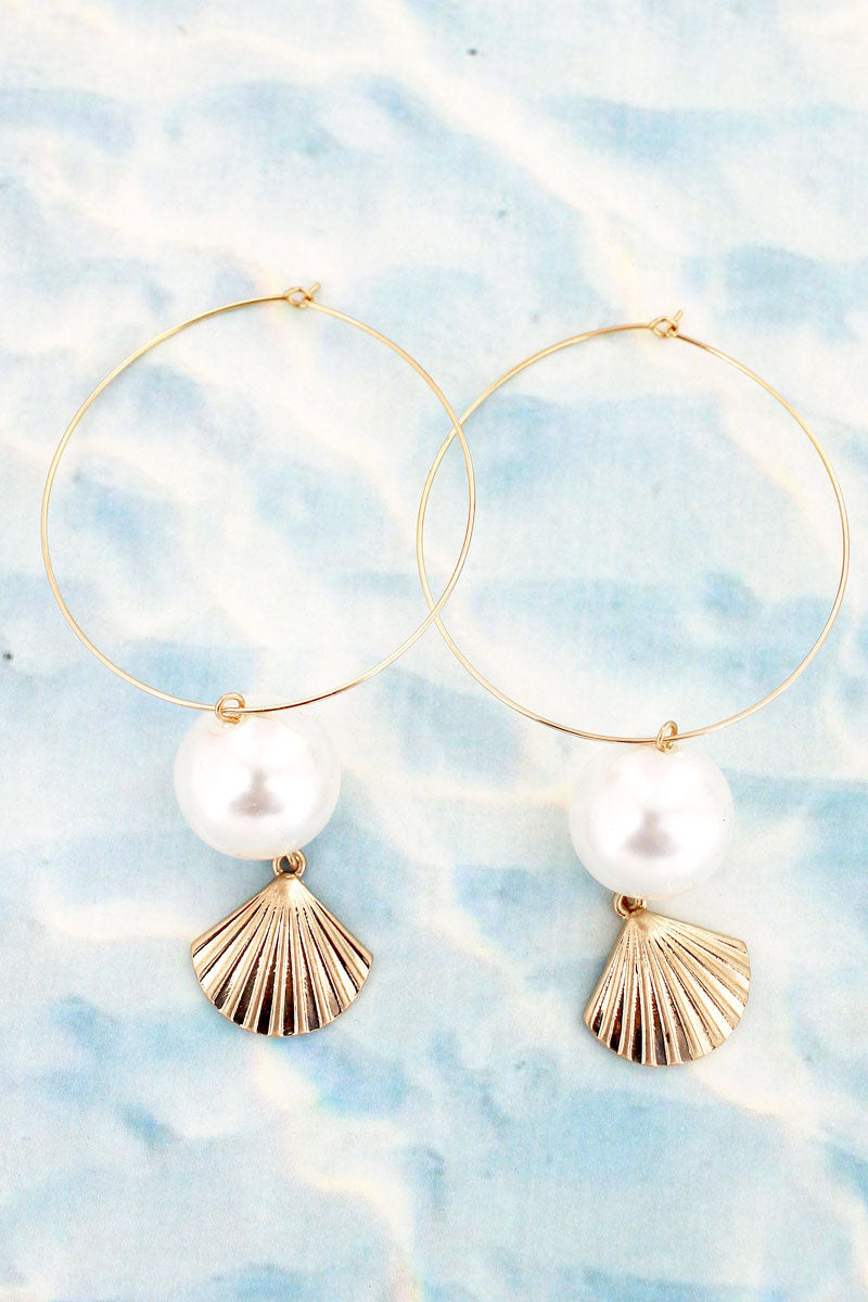 Crave Goldtone Clam Shell and Pearl Threader Hoop Earrings