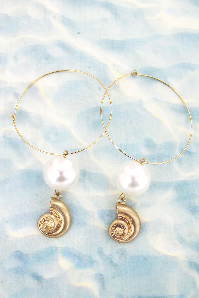 Crave Goldtone Nautilus and Pearl Threader Hoop Earrings